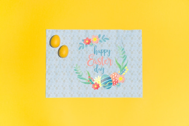 Easter mockup flat lay for greeting card