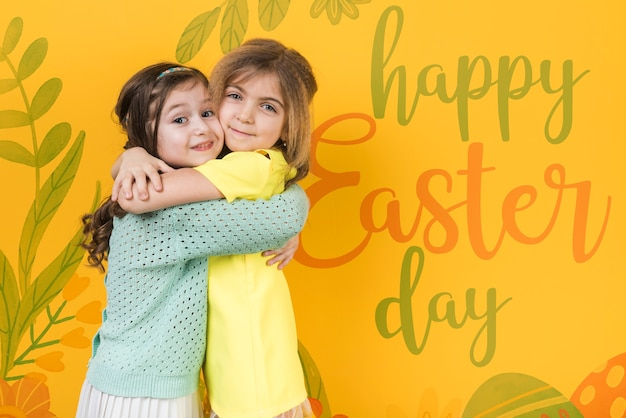 Easter mockup with blonde and brunette girls