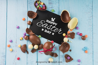 Easter mockup with broken chocolate eggs