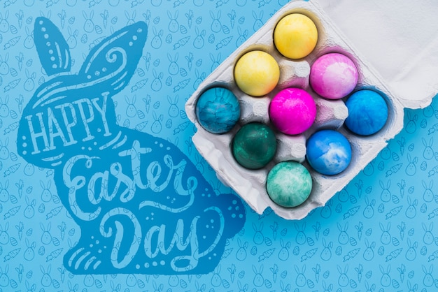 Easter mockup with colorful eggs
