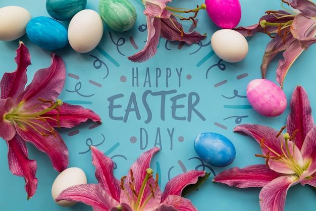 Easter mockup with egg and flower frame