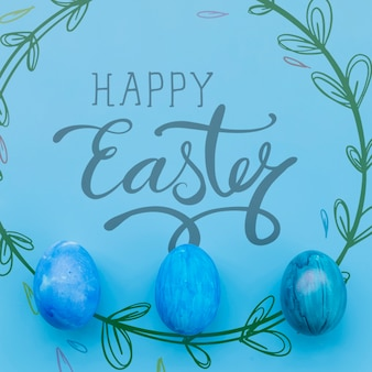 Easter mockup with egg line