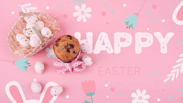 Easter mockup with eggs and cupcake