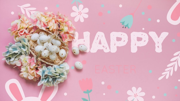 Easter mockup with eggs and flowers