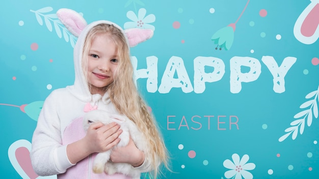 Easter mockup with girl and rabbit
