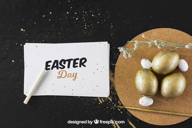 Easter mockup with golden eggs and card