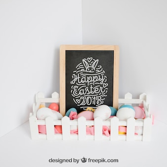 Easter mockup with slate and fence