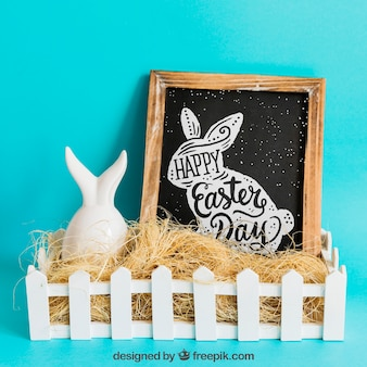 Easter mockup with slate and straw