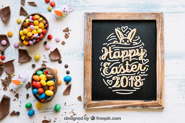 Easter mockup with slate and sweets