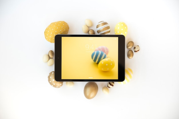 Easter mockup with tablet