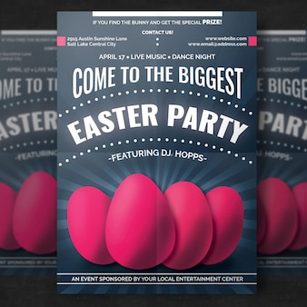 Easter poster mockup with realistic eggs
