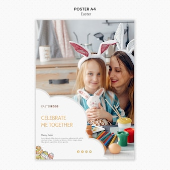Easter poster template with happy mother and child