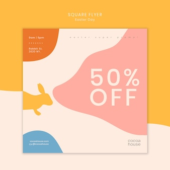 Easter sale square flyer template