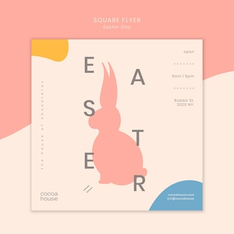 Easter square flyer template with bunny
