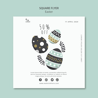 Easter square flyer with discount