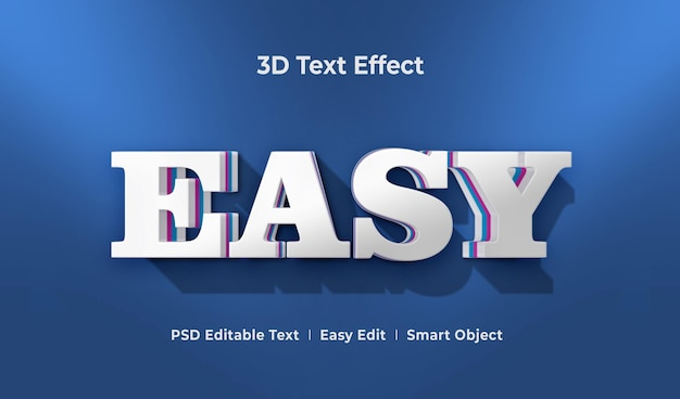 Easy 3d text effect mockup template