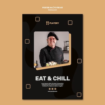 Шаблон плаката ресторана