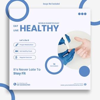 Eat healthy live healthy diabetes day instagram post