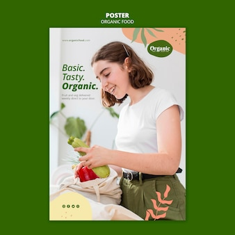 Eat organic and healthy veggies poster template