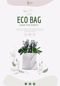 Eco bag for flowers and shopping flyer