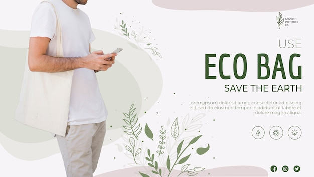 Eco bag recycle for environment banner template