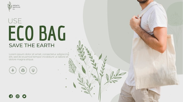 Eco bag recycle for environment and leaves banner