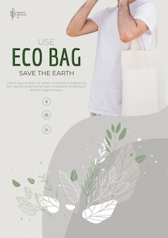 Eco bag recycle for environment poster template