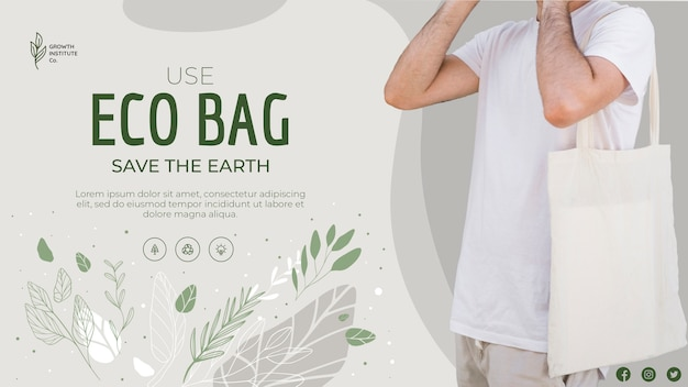 Eco bag recycle for environment save the planet banner