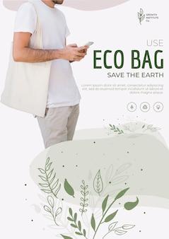 Эко сумка для окружающей среды и человек смотрит на свой телефон