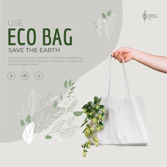 Eco bag for veggies and shopping save the earth