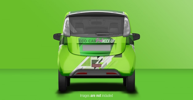 Eco car mockup back view