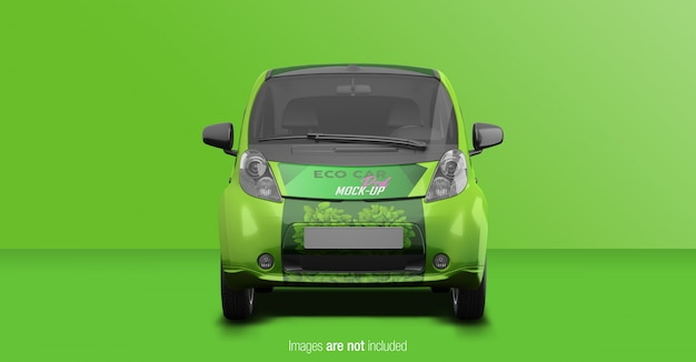 Eco car psd mockup front view