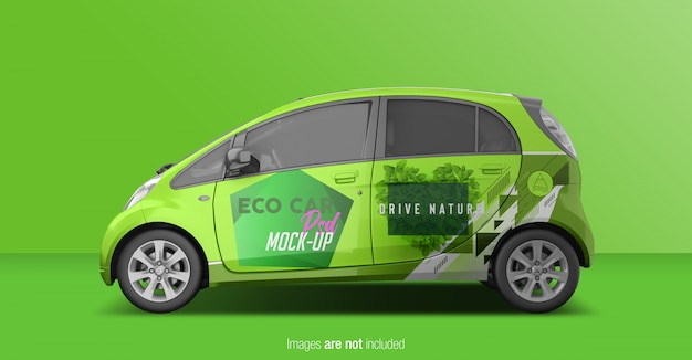 Eco car psd mockup side view