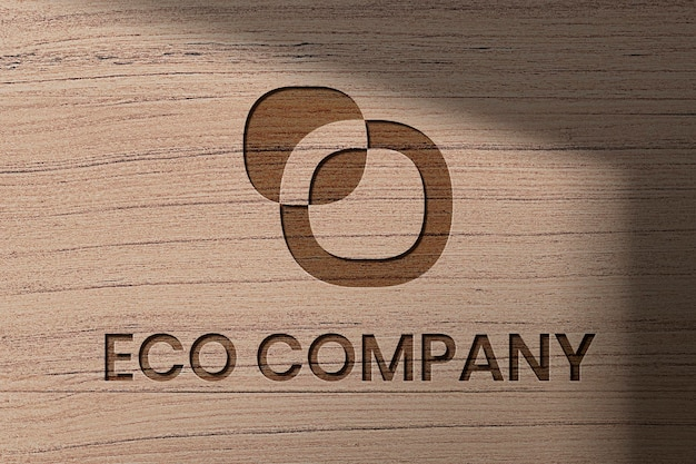 Eco company logo template psd in debossed wood style