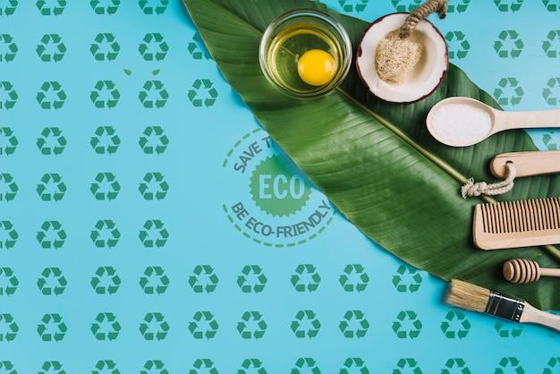 잎에 환경 친화적 인 개념