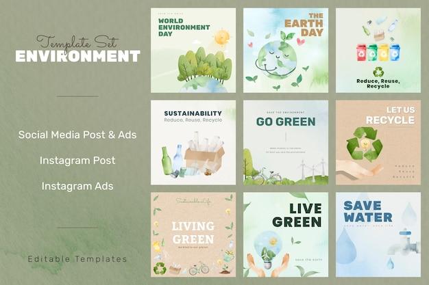 水彩で設定されたソーシャルメディア投稿用の環境に優しい編集可能なテンプレートpsd
