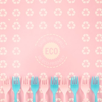 Eco-friendly forks with background mock-up
