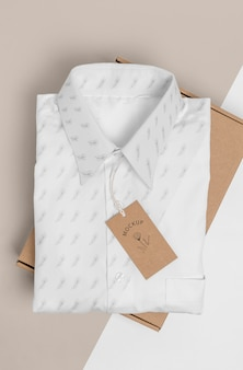 Eco-friendly price tag and cardboard box with formal shirtmock-up