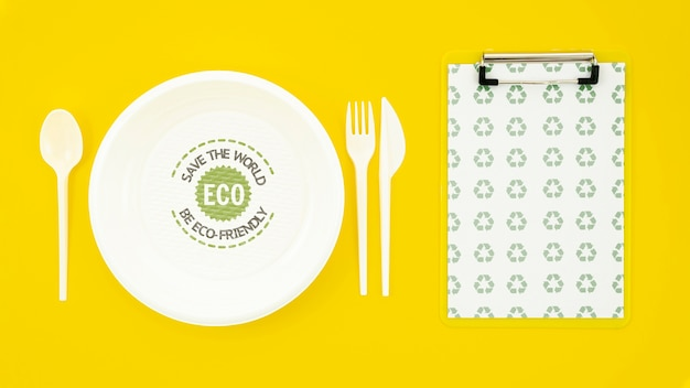 Eco-friendly tableware with plate mock-up