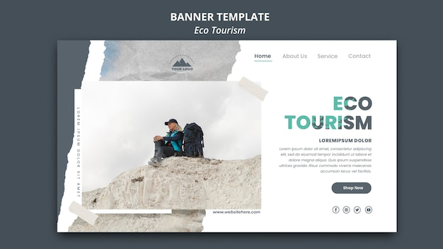 Eco tourism ad banner template