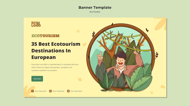 Eco tourism concept banner template