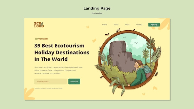 Eco tourism concept landing page template
