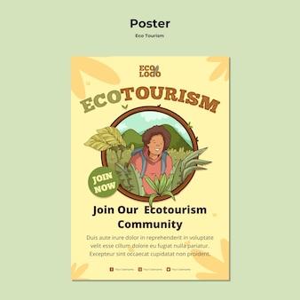 Eco tourism concept poster template