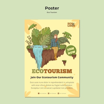Eco tourism concept poster template