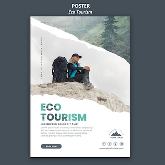 Eco tourism flyer template