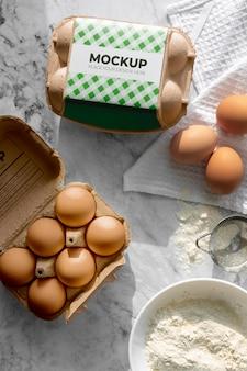 生態学的な卵の包装のモックアップ