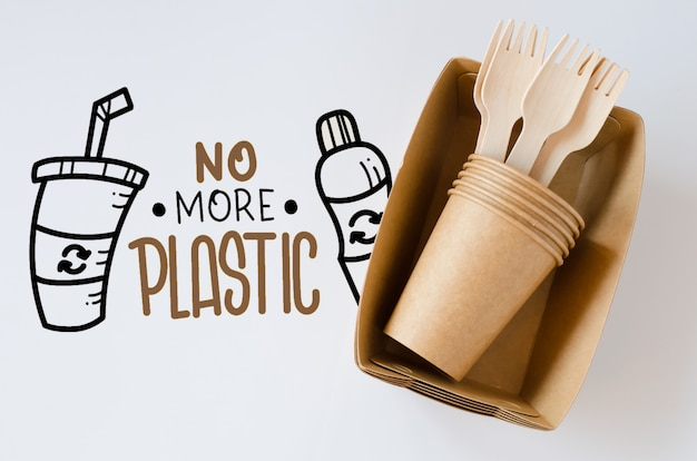 Ecological biodegradable cardboard or paper dishes. zero waste recycling concept.