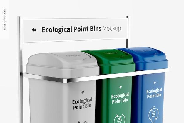 Ecological point bins mockup, close up
