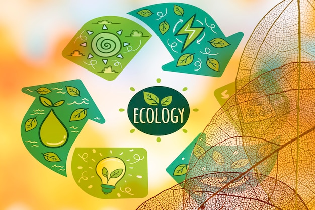 Ecology logo with translucent leaves