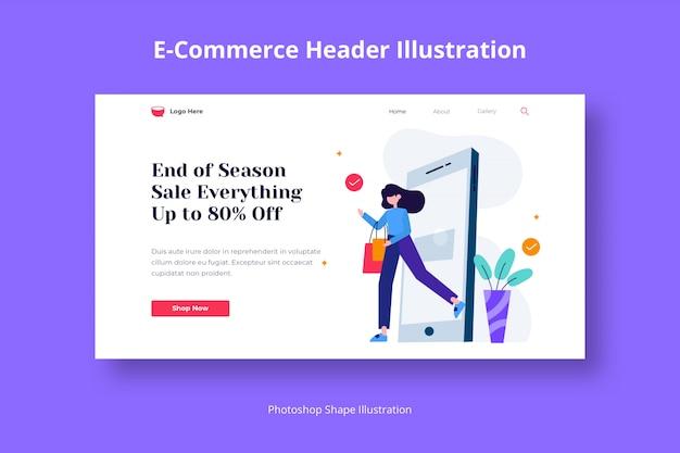 Ecommerce header web flat illustration abstract